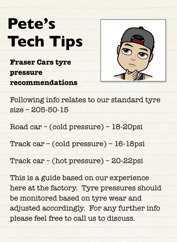 Tyre pressure on a Fraser or Lotus 7