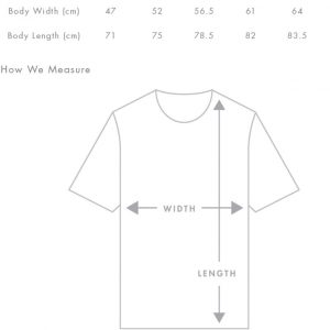 Fraser tshirt sizing guide
